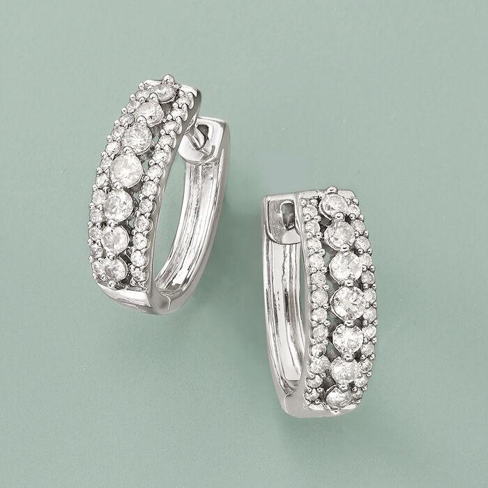 1.00 ct. t.w. Diamond Hoop Earrings in Sterling Silver