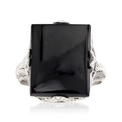 C. 1950 Vintage Onyx Ring in 18kt White Gold, , default