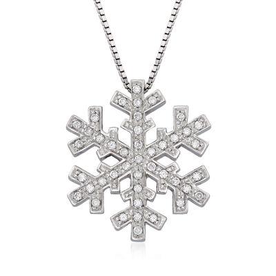 C. 1990 Vintage Salvini .34 ct. t.w. Diamond Snowflake Necklace in 18kt White Gold