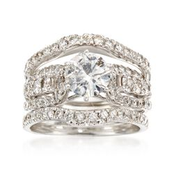 C. 1990 Vintage 2.29 ct. t.w. Diamond Bridal Set: Engagement and Two Wedding Rings in 14kt and 18kt White Gold. Size 5.5, , default