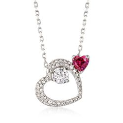 "Swarovski Crystal ""Love Heart"" Pink and Clear Pendant Necklace in Silvertone. 14.75"", , default"