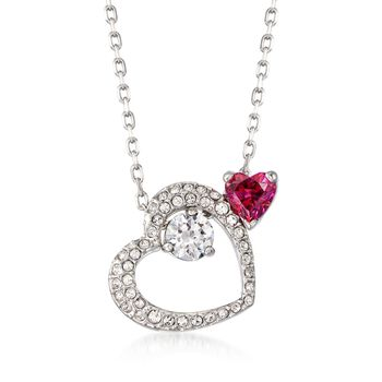 """Swarovski Crystal """"Love Heart"""" Pink and Clear Pendant Necklace in Silvertone. 14.75"""", , default"""