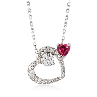 "Swarovski Crystal ""Love Heart"" Pink and Clear Pendant Necklace in Silvertone, , default"