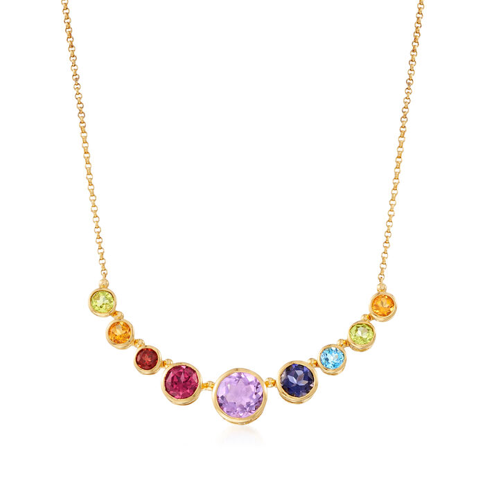 4.30 ct. t.w. Multi-Gemstone Rainbow Necklace in 18kt Gold Over Sterling, , default