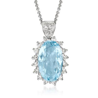 C. 1980 Vintage 7.50 Carat Aquamarine and .95 ct. t.w. Diamond Pendant Necklace in 14kt White Gold