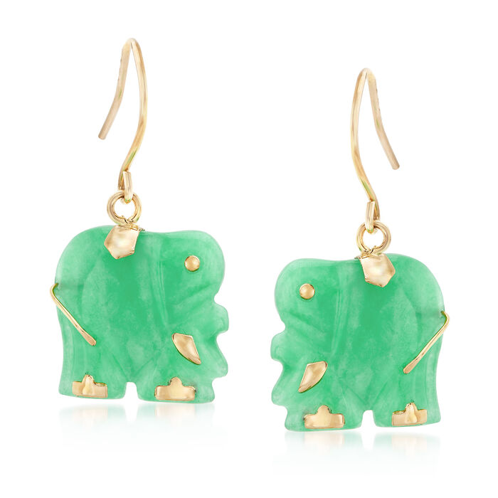 Carved Green Jade Elephant Drop Earrings in 14kt Yellow Gold, , default