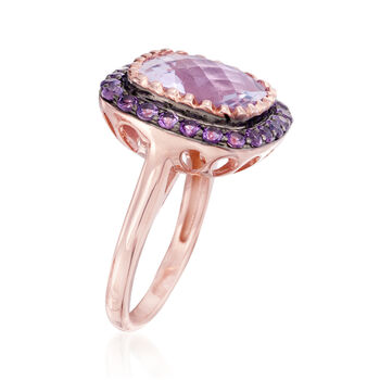 7.05 ct. t.w. Amethyst Ring in 14kt Rose Gold Over Sterling