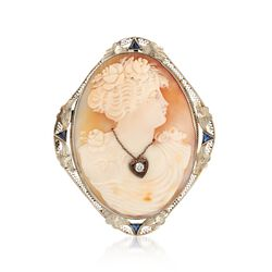 C. 1920 Vintage 49x34mm Shell Cameo Pin Pendant With Diamond and Synthetic Sapphires in 14kt White Gold, , default