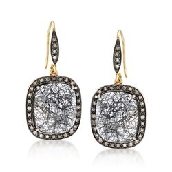 20.00 ct. t.w. Tourmalinated Quartz and .51 ct. t.w. Champagne Diamond Drop Earrings in 18kt Gold Over Sterling , , default