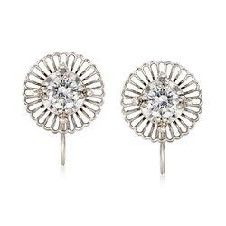 C. 1960 Vintage Jabel .65 ct. t.w. Diamond Filigree Swirl Clip-On Earrings in 18kt White Gold, , default