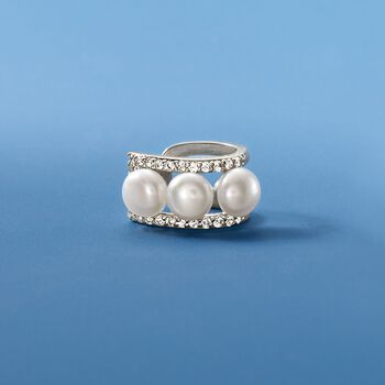 5-5.5mm Cultured Pearl and .21 ct. t.w. CZ Ear Cuff in Sterling Silver, , default