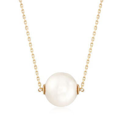11mm Cultured Pearl Necklace in 14kt Yellow Gold