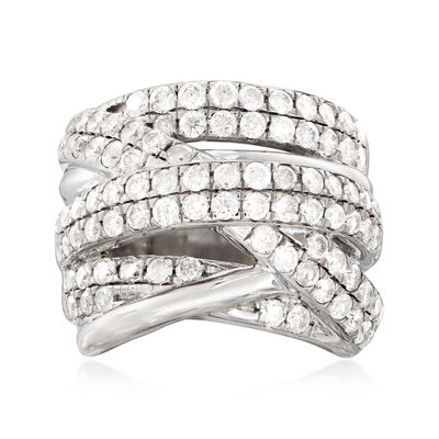 3.00 ct. t.w. Diamond Double-Row Highway Ring in Sterling Silver, , default