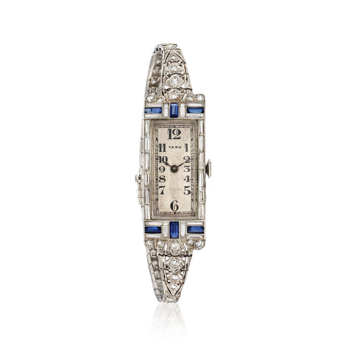 C. 1930 Vintage Women's 2.80 ct. t.w. Diamond and .90 ct. t.w. Sapphire 15mm Manual Watch in Platinum. Size 7