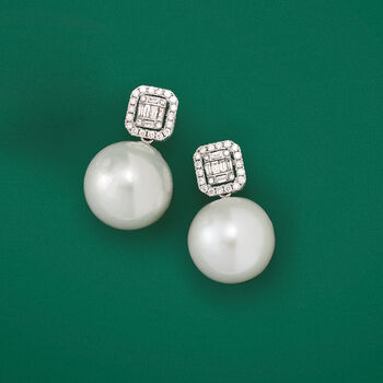 12-14mm Cultured Pearl and .42 ct. t.w. Diamond Earrings in 18kt White Gold. Drop Earrings, , default