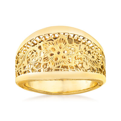 Italian 14kt Yellow Gold Filigree Floral Ring, , default