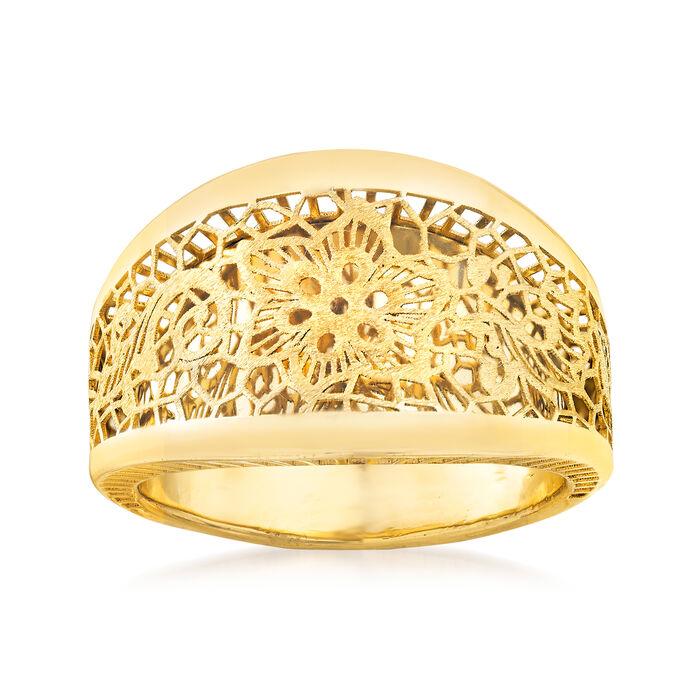 Italian 14kt Yellow Gold Filigree Floral Ring