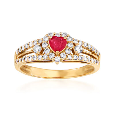 C. 1980 Vintage .45 ct. t.w. Diamond and .20 Carat Ruby Heart Ring in 18kt Yellow Gold