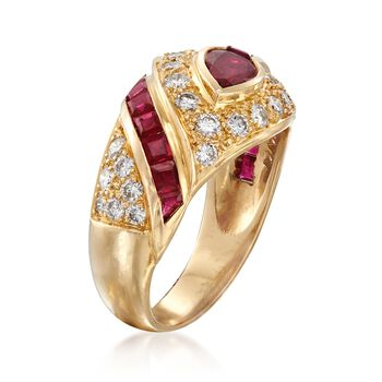 C. 1990 Vintage 1.80 ct. t.w. Ruby and .75 ct. t.w. Diamond Dome Ring in 18kt Yellow Gold. Size 5.5, , default
