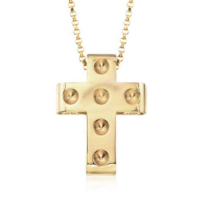 "Roberto Coin ""Pois Moi"" 18kt Yellow Gold Cross Pendant. 16"", , default"
