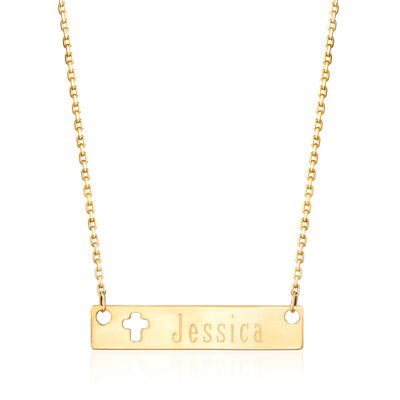 14kt Yellow Gold Personalized Cut-Out Cross Bar Necklace