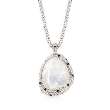 "Phillip Gavriel ""Popcorn"" 11.00 Carat Quartz Over Mother-Of-Pearl Pendant Necklace With Black Spinel Accents in Sterling. 18"", , default"