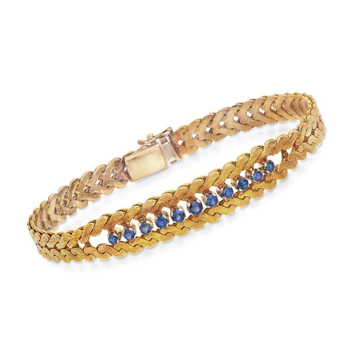 "C. 1980 Vintage .75 ct. t.w. Sapphire Bracelet in 14kt Yellow Gold. 7"", , default"