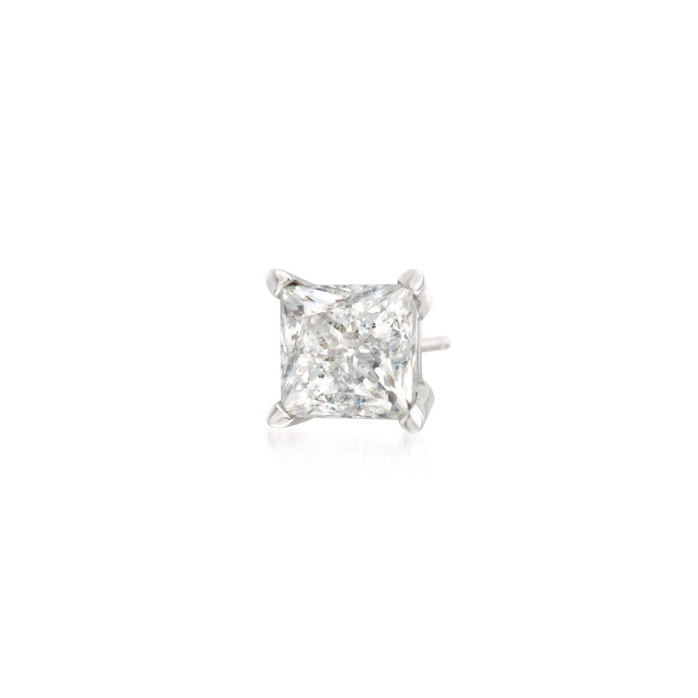 75 Carat Princess Cut Diamond Single Stud Earring In 14kt White Gold