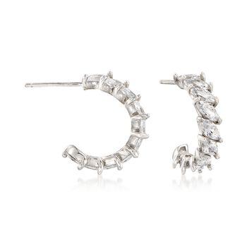 "2.80 ct. t.w. Marquise CZ C-Hoop Earrings in Sterling Silver. 5/8"", , default"
