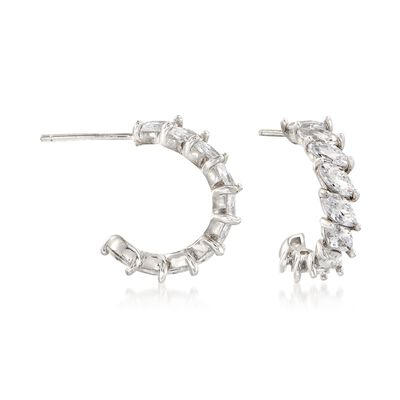 2.80 ct. t.w. Marquise CZ C-Hoop Earrings in Sterling Silver, , default