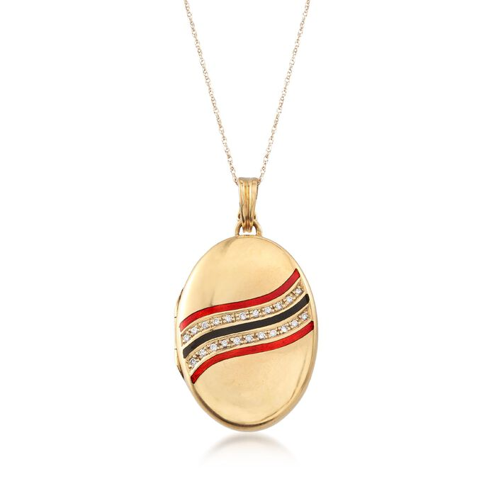 """C. 1960 Vintage .35 ct. t.w. Diamond Oval Locket Pendant Necklace with Red and Black Enamel in 14kt and 18kt Gold. 18"""", , default"""