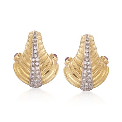 C. 1980 Vintage .75 ct. t.w. Ruby and 1.00 ct. t.w. Diamond Earrings in 18kt Two-Tone Gold , , default