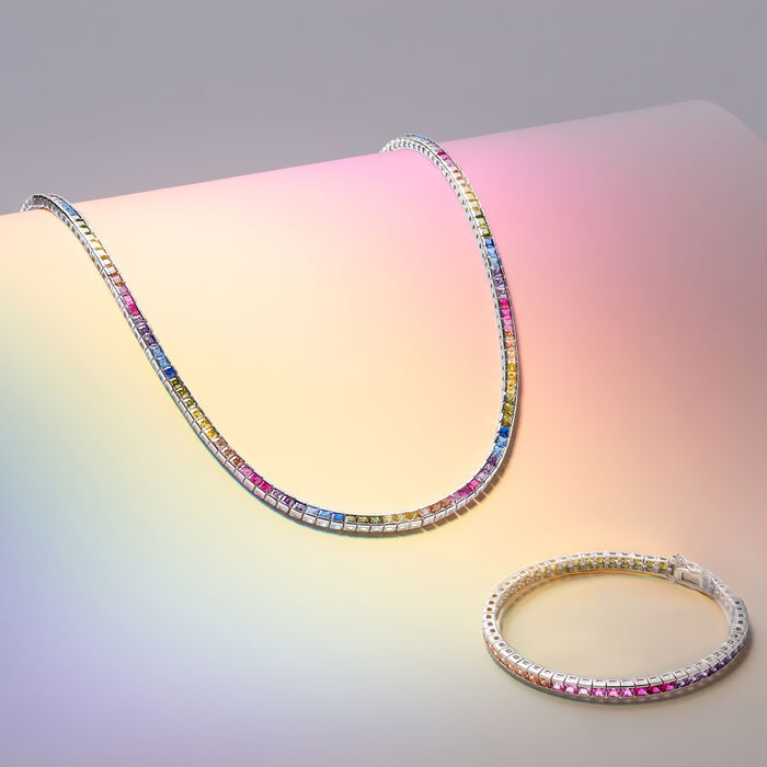 8.70 ct. t.w. Princess-Cut Rainbow Simulated Sapphire Tennis Bracelet in Sterling Silver