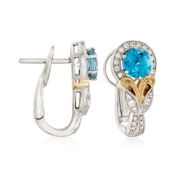 Simon G. 2.96 ct. t.w. Blue Zircon and .23 ct. t.w. Diamond Earrings in 18kt  Two-Tone Gold, , default