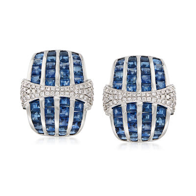 6.50 ct. t.w. Sapphire and .50 ct. t.w. Diamond Earrings in 18kt White Gold , , default