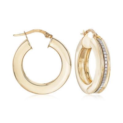 Italian Hoop Earrings with Glitter in 14kt Yellow Gold, , default