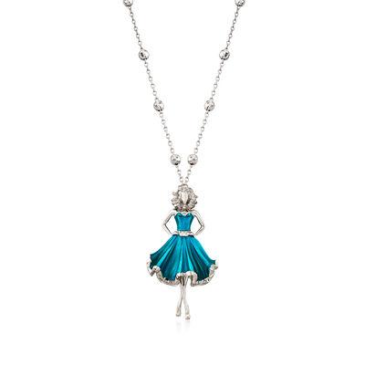 Italian Blue Enamel Dancing Lady Necklace in Sterling Silver, , default