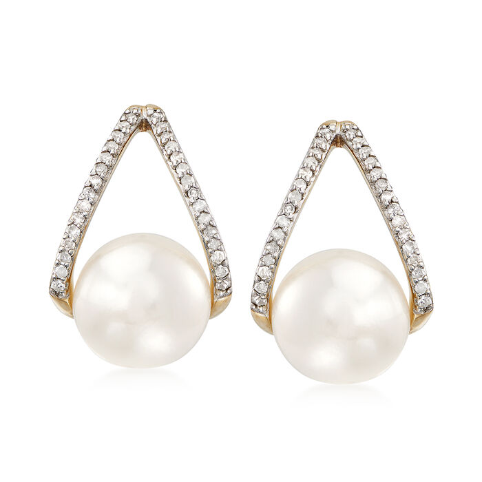 8-8.5mm Cultured Pearl and .12 ct. t.w. Diamond Drop Earrings in 14kt Yellow Gold, , default