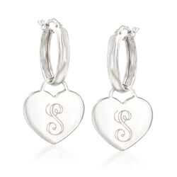 Italian Hoop and Heart Charm Earrings in Sterling Silver, , default