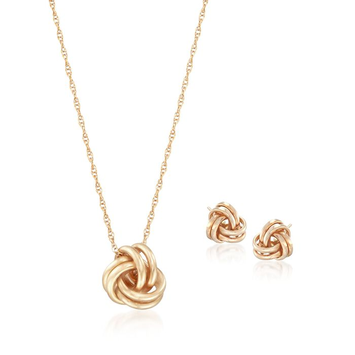"""14kt Yellow Gold Love Knot Jewelry Set: Necklace and Earrings. 18"""""""