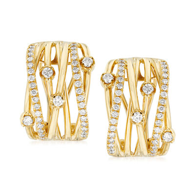 1.10 ct. t.w. Diamond Highway Station Earrings in 14kt Yellow Gold