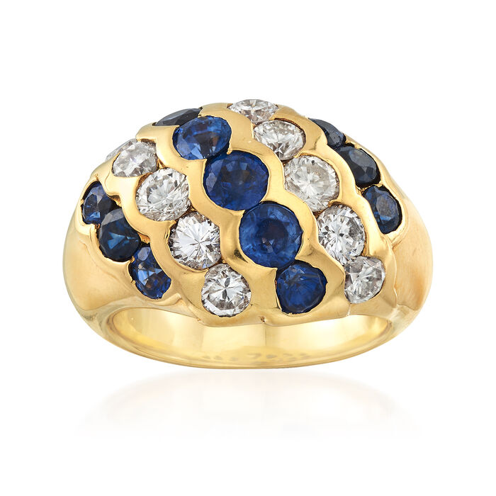 C. 1990 Vintage 3.37 ct. t.w. Sapphire and 1.81 ct. t.w. Diamond Diagonal Ring in 18kt Yellow Gold. Size 6.5, , default