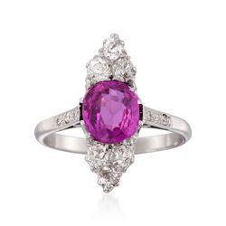 C. 1915 Vintage 1.77 Carat Pink Sapphire and .70 ct. t.w. Diamond Ring in Platinum. Size 7, , default