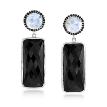 Black Onyx and Moonstone Drop Earrings With .60 ct. t.w. Black Spinels in Sterling Silver, , default
