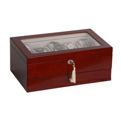 """Mele & Co. """"Christo"""" Walnut-Finished Wooden Ten-Part Watch Box With Glass Top and Drawer, , default"""