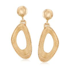 Italian 14kt Yellow Gold Free-Form Open-Space Drop Earrings, , default