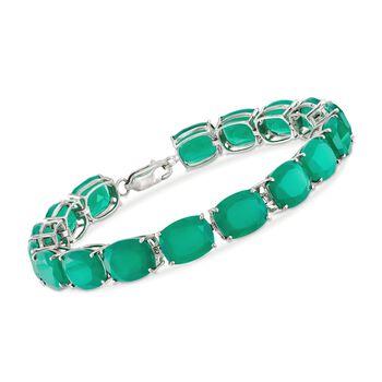 "Cushion-Cut Green Onyx Tennis Bracelet in Sterling Silver. 7.5"", , default"
