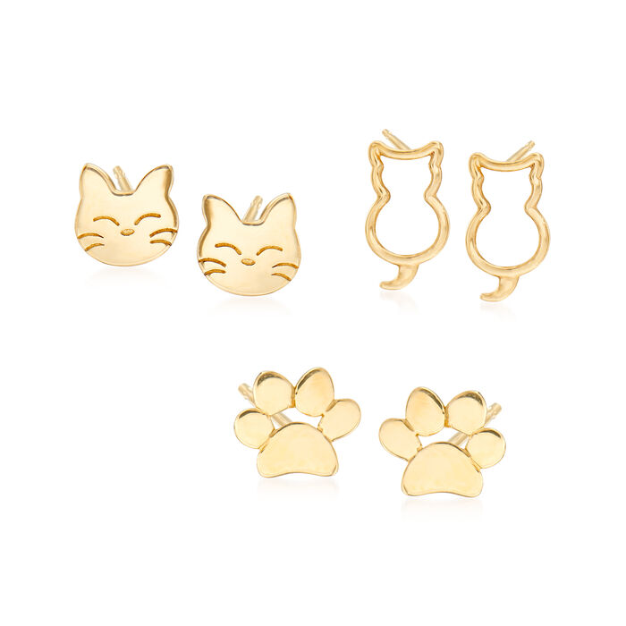 14kt Yellow Gold Jewelry Set: Cat and Paw Print Stud Earrings, , default