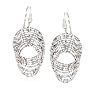 "Charles Garnier ""Saturnia"" Sterling Silver Interlocking Drop Earrings"
