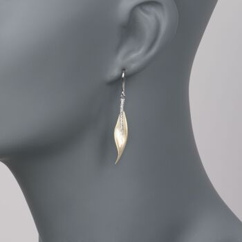 Simon G. .13 ct. t.w. Diamond Leaf Earrings in 18kt Yellow and White Gold, , default